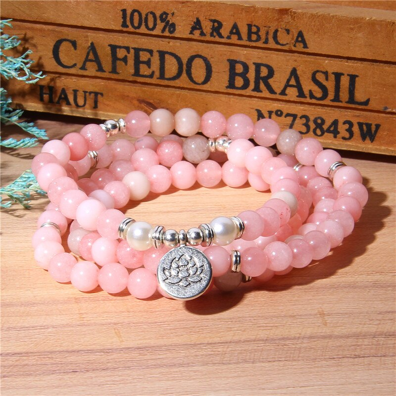 Natural Stone Bracelet Women 108 Mala Yoga Necklace Pink Jades beads Bracelets for Women Fashion Jewelry 2019