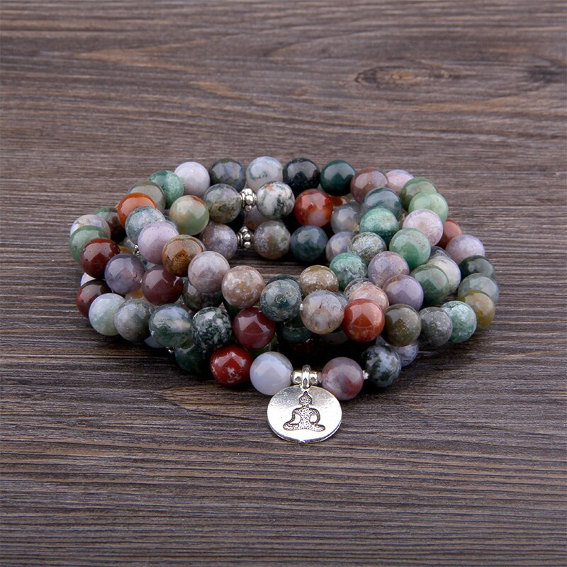 Men Women Bracelets Natural Stone Wrap Bracelets 108 Mala India Agates Beads Yoga Bracelets for Women Men Jewelry