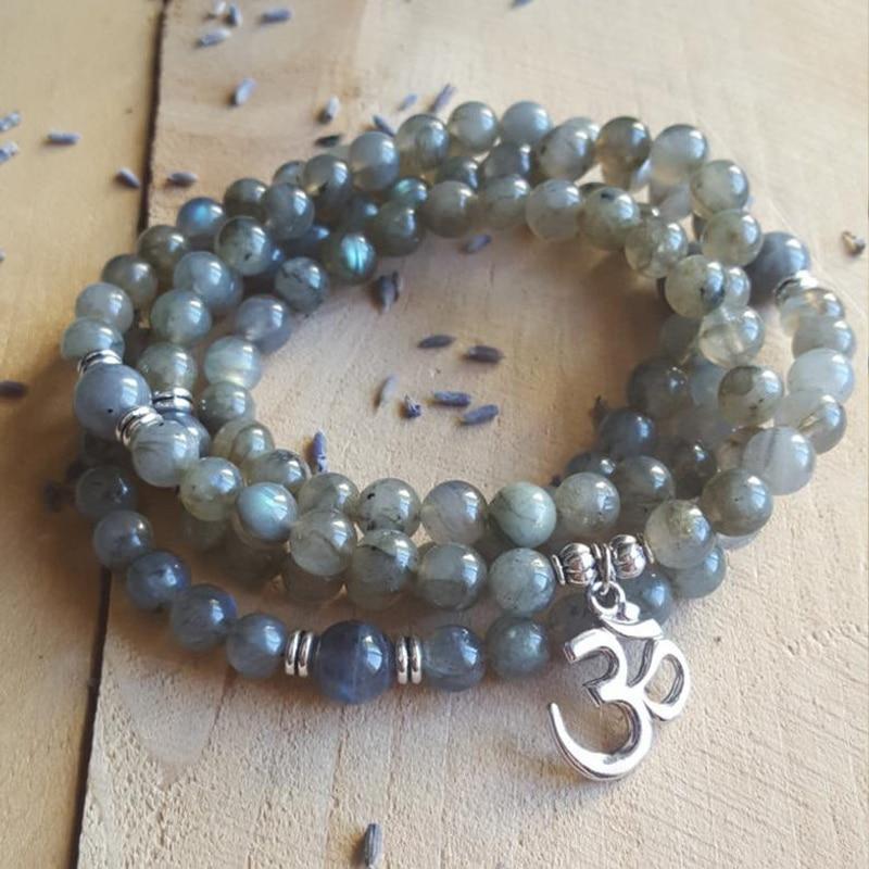 108 Mala Yoga Necklace Meditation Beads 6mm Labradorite Bracelet Mala Jewelry Gift For Men